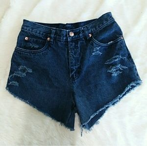 Vintage Rio high rise mom jean distressed shorts